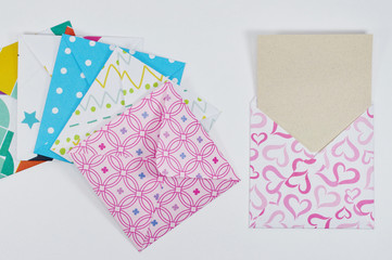 set of cute envelopes with decorated paper
