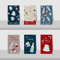 Set of Merry Christmas mini cards with party items, pattern, Christmas party holly jolly celebration, decorated scrapbook wrapping paper, gift box for season greeting in brown, red, blue colors.