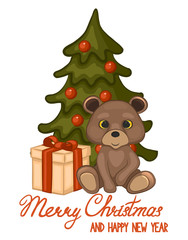 Cute bear, gift and Christmas tree. The cartoon style. Vector illustration. Merry Christmas and happy new year greeting card.