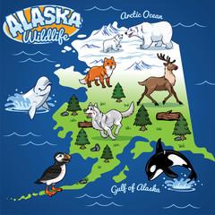 Alaska Wildlife map in cartoon style