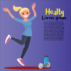 Beautiful sportive woman exercising with dumbbell. Vector illustration isolated on background.