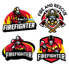 firefighter badge design set