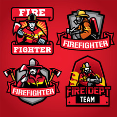 firefighter department badge set