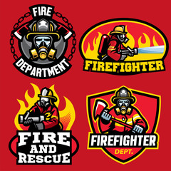 set of firefighter badge design