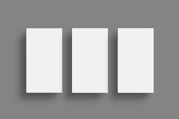 Three Horizontal Business card Mock-Up. White Business Card Blank Design Template. Top View, Isolated on White Background.
