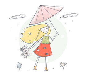 Girl with umbrella under the rain. Simple modern fashion design. Cartoon character vector illustration.