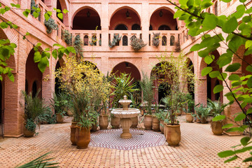beautiful garden inside moroccan courtyard, marrakech