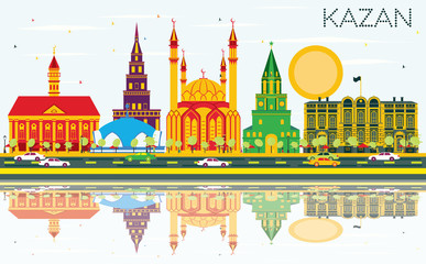 Kazan Skyline with Color Buildings, Blue Sky and Reflections.