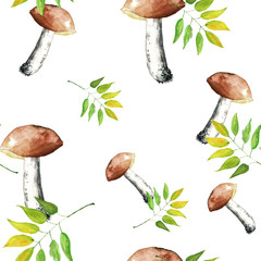 Seamless watercolor pattern, background with a picture of forest mushrooms, autumn leaves, plants, berries. Oak leaf, mountain ash, birch. Illustration in vintage style.