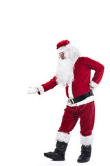 Portrait of Santa Claus dancing curiously isolated on white background.