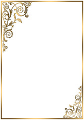 Frame border with gold ornaments