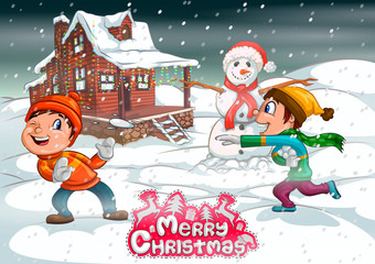 Kid playing with Snowman in Merry Christmas holiday background