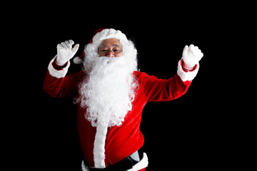 Happy traditional Santa Claus isolated on background.