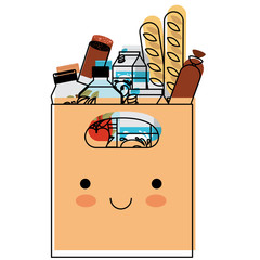 kawaii rectangular paper bag with handle and foods sausage and bread apples and drinks orange juice and water bottle and milk carton in watercolor silhouette