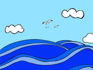바다, 구름, 갈메기