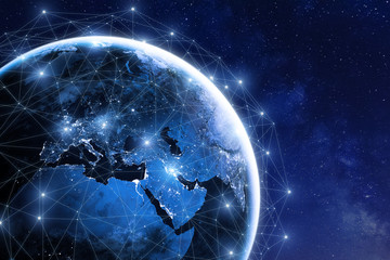 Global communication network around planet Earth in space, worldwide exchange