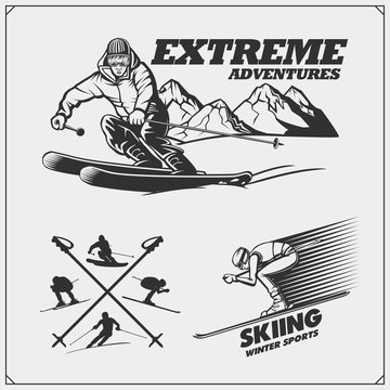 Extreme Downhill and Ski club emblems, labels and design elements.