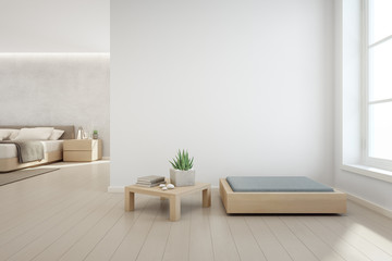 Indoor plant on wooden coffee table and modern furniture with empty white concrete wall background, Bedroom near living room in scandinavian house - 3d illustration of home interior