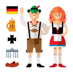 Vector People Germany. Flat style colorful Cartoon illustration.