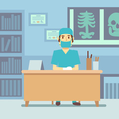 Doctor sitting at the table in medical