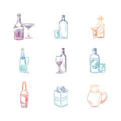 Colorful sketch alcohol and non alcohol drinks