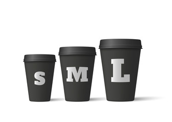 Realistic coffee cups isolated on a white background. Black paper cups mockup. Vector illustration
