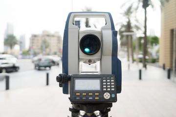 total station with busy road in modern city