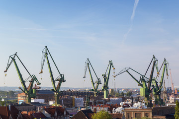Buildings and shipyard cranes in Gdansk, Poland, viewed from above on a sunny day. Copy space.