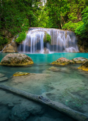 Beautiful scene of waterfall at Erawan National Park, Thailand