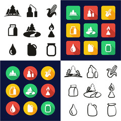 Moonshine All in One Icons Black & White Color Flat Design Freehand Set