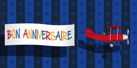 anniversaire - fête - message - invitation - carte de vœux - bon anniversaire - humour - avion