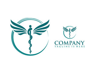 Classic Circle with Snake Stick and Wings Medicine Logo Symbol