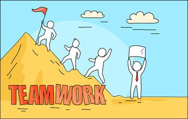 Teamwork Big Image Depicted on Vector Illustration