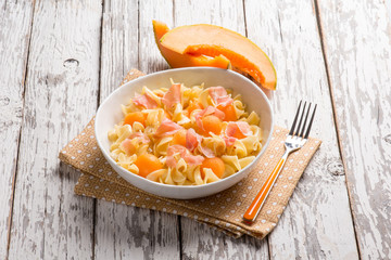 pasta salad with parma ham and melon
