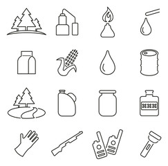 Moonshine Equipment & Culture Icons Thin Line Vector Illustration Set