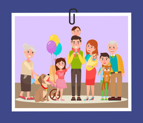 Happy Familly Photocard on Vector Illustration