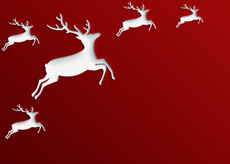 christmas red background of rein deer cut out paper design
