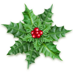 Christmas holly berry ornament on white background