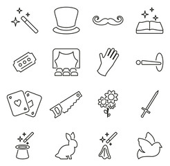 Magic or Magician or Illusionist Icons Thin Line Vector Illustration Set