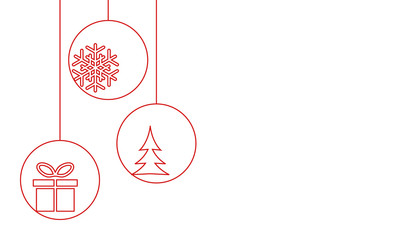 christmas baubles with snowflake, xmas tree and gift box - minimalism style greeting card