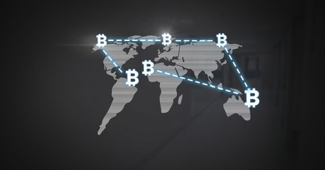 Bitcoin icons network connecting over world map