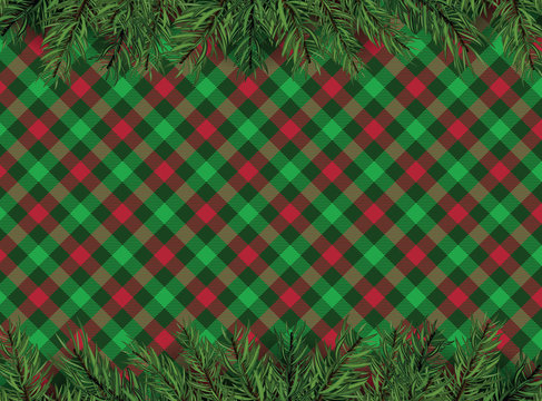 Red, green checkered pattern background with Christmas tree decoration