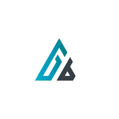 Initial Letter Gb Linked Triangle Design Logo