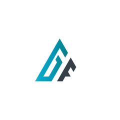 Initial Letter GF Linked Triangle Design Logo