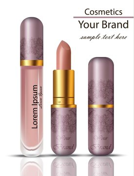 Lipstick cosmetics realistic Mock up Vector set. Matt lipgloss with lace ornament packaging original design. Pink powder colors