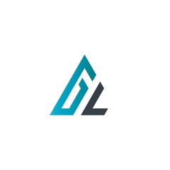 Initial Letter GL Linked Triangle Design Logo