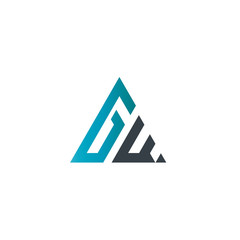 Initial Letter GW Linked Triangle Design Logo