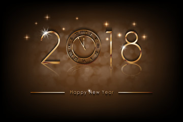 Happy New 2018 Year illustration. Greetings New Year background banner with gold clock. Colorful bronze Winter Background. Vector