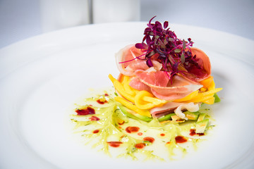 Chef s specialty presented in restaurant on served table