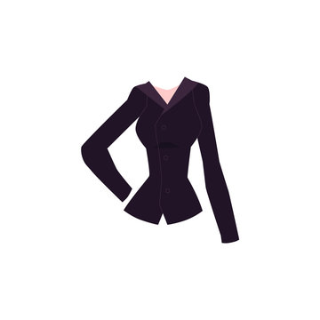 Black slim fit women blazer, suit jacket with button fastening, cartoon vector illustration isolated on white background. Cartoon women blazer with lapel collar and button-up fastening, trendy outfit